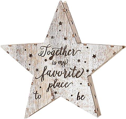 Nyutop Navidad Hueco de Madera en Forma de Estrella Caja de luz de Navidad Adorno de Escritorio lámpara Luminosa árbol de Navidad Colgante Colgante Vacaciones Novedad Decoraciones: Amazon.es: Hogar