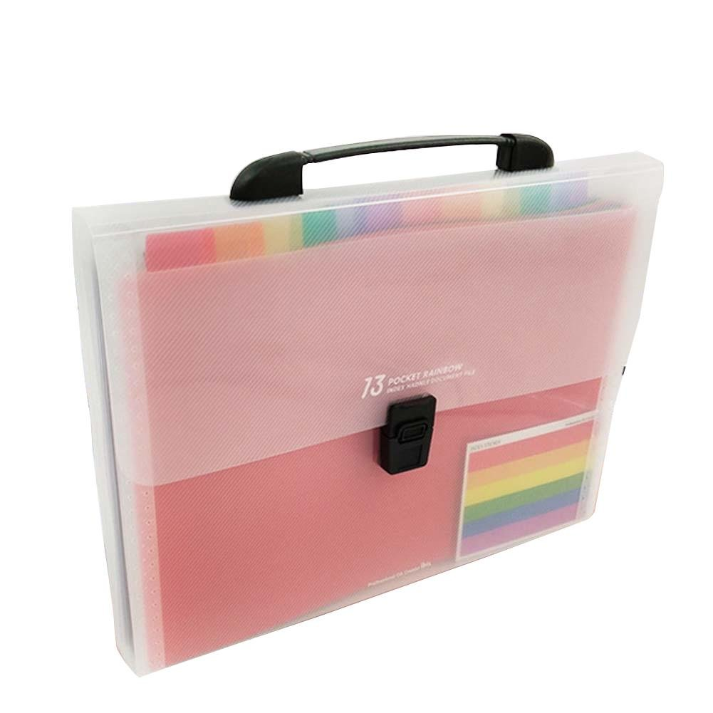 A4 Portable Organ Bag 13-Lattice Multi-Layer Folder Test Paper Storage Bag Office Stationery Bill Expanding File
