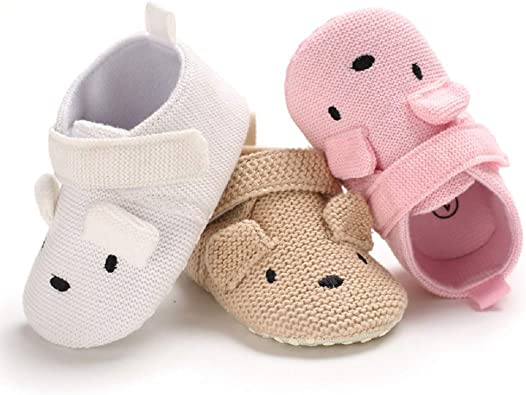 Meckior Infant Unisex Baby Winter Warm Cotton Slippers Anti-Slip Soft Sole Cute Cartoon First Walkers Shoes Sneaker