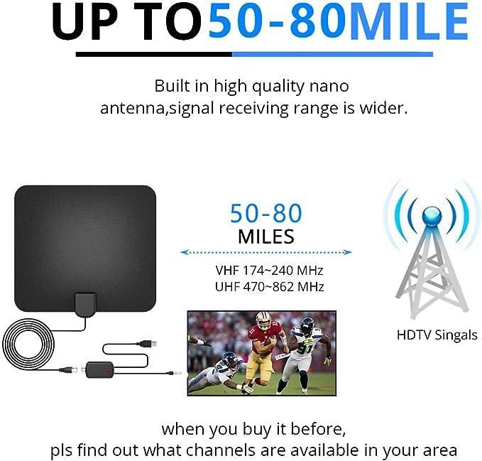 C/âble coaxial de 16 Pieds//Adaptateur Secteur Alivier Antenne TV 4K 1080P HD Antenne TV num/érique avec amplificateur de Signal Prise en Charge de Tous Les t/él/éviseurs