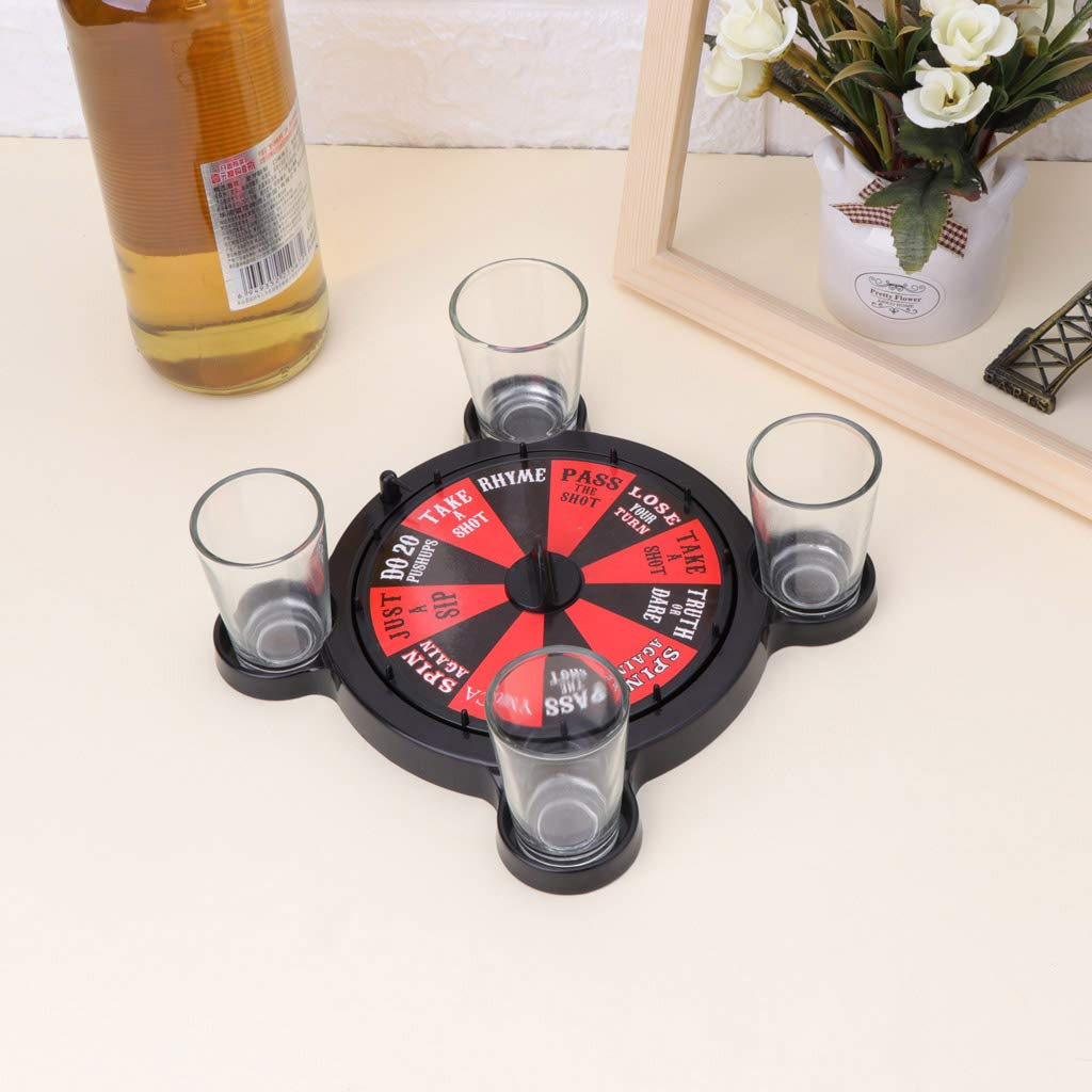 Haayward New Turntable Wine Set Drinking Game, Creative Fun Party Penalty, Four Glasses