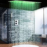 "2Jets Concealed Thermostatic Shower Set installed in wall 20""*40"" Rainfall LED Shower Head with Hand Shower Head"