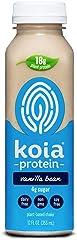 Koia Protein - Ready To Drink Plant Protein Shake (12 oz) - Vanilla Bean - Dairy Free, Gluten Free, Soy Free, Non GMO, Kosher