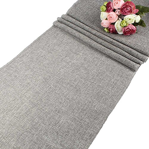 OurWarm 13.8 x 108 Inch Gray Burlap Table Runner Lmitated Table Linens for Rustic Wedding Decorations Bridal Shower -
