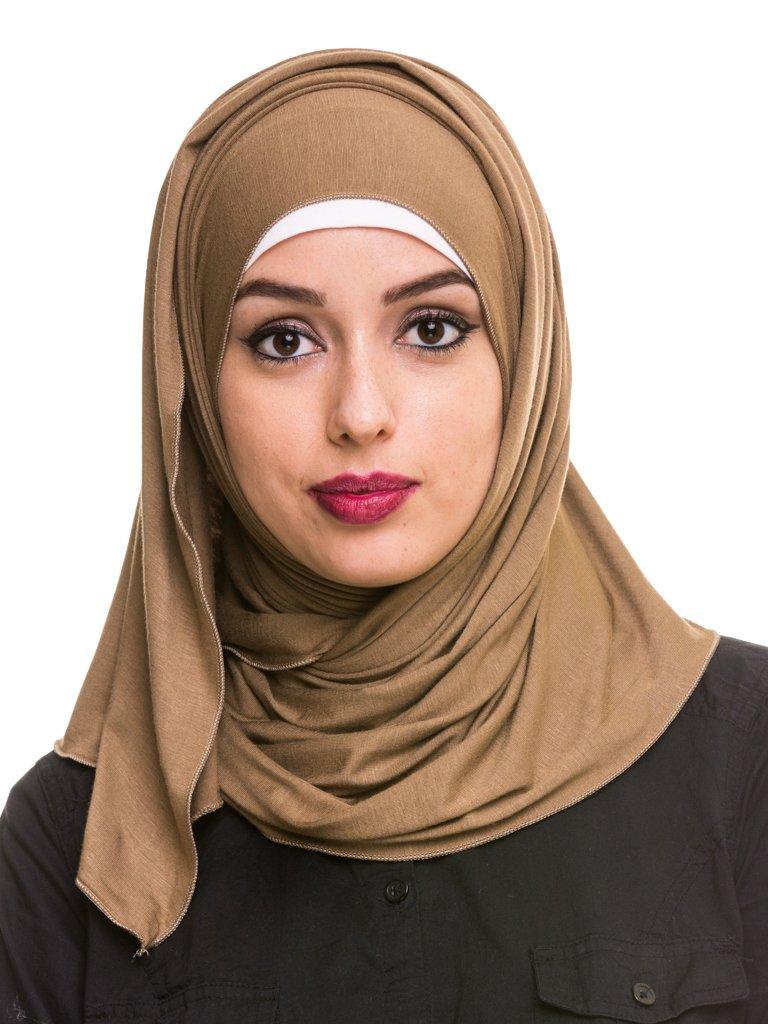 Kashkha Women's Plain Cotton Jersey Lightweight Hijab Scarf, Khaki, 22inches Width*77inches Length /(55cm*200cm)