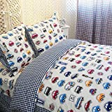 LELVA Cars Bedding Queen Size,train Bedding Sets,cute Kids Bedding Set,queen Size Cartoon Bedding,anime Bed Sheets,4pcs (1, Twin)