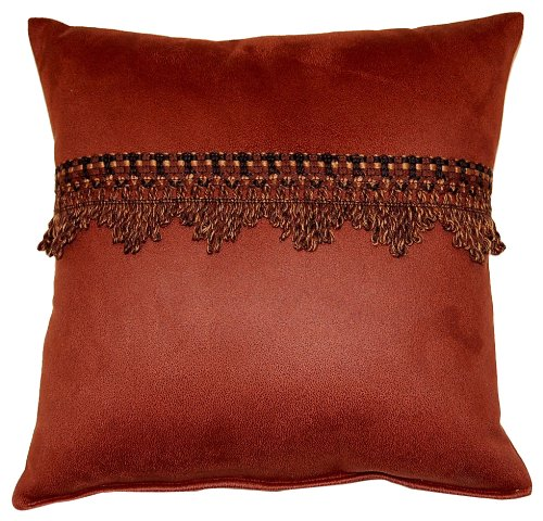 Dakotah Aspen Cognac Knife Edge with Trim Pillows, 17-Inch, Set of 2 Cognac Pillow