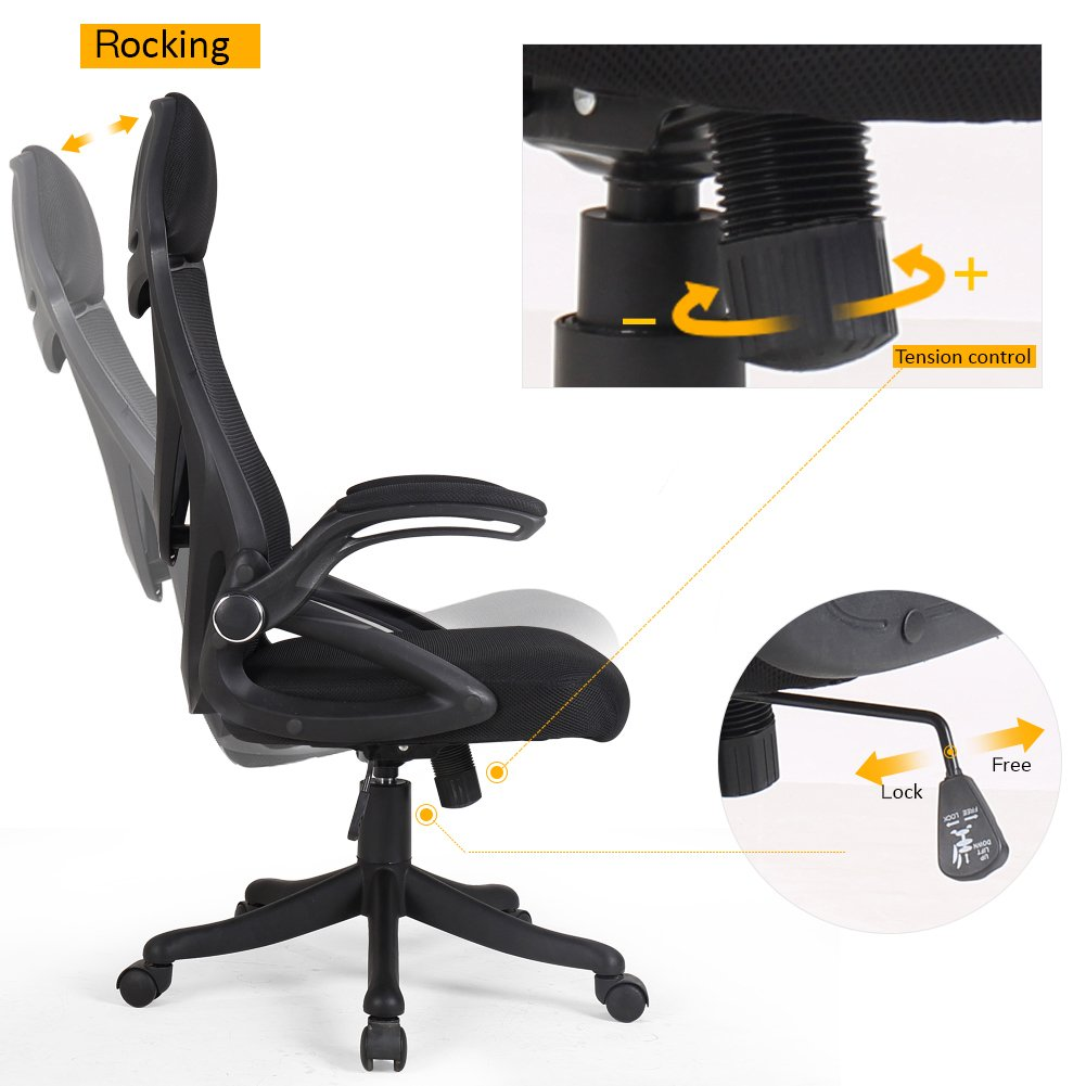BERLMAN Ergonomic High Back Mesh Office Chair with Adjustable Armrest Lumbar Support Headrest Swivel Task Desk Chair Computer Chair Guest Chairs Reception Chairs (Black) by Zenith (Image #2)