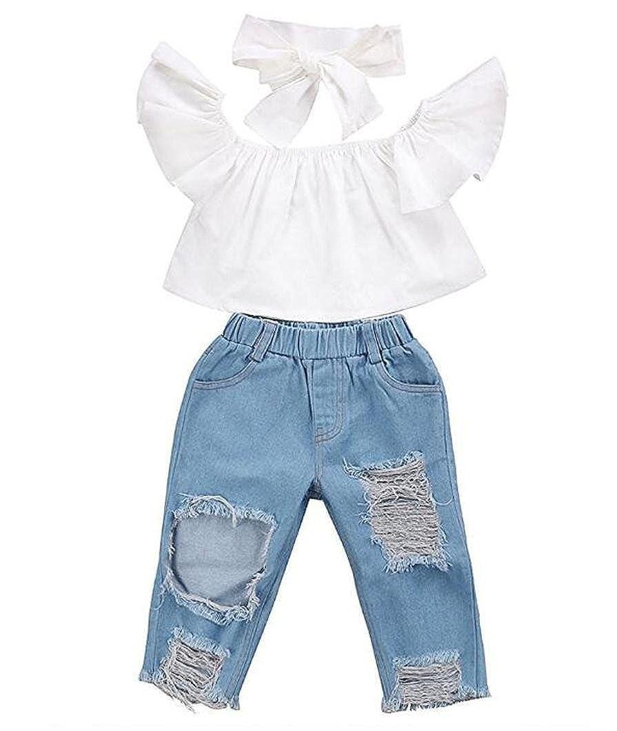 Festwolf Baby Set Off shoulder Crop Tops + Hole Denim Pant Jean Headband White FTA-20