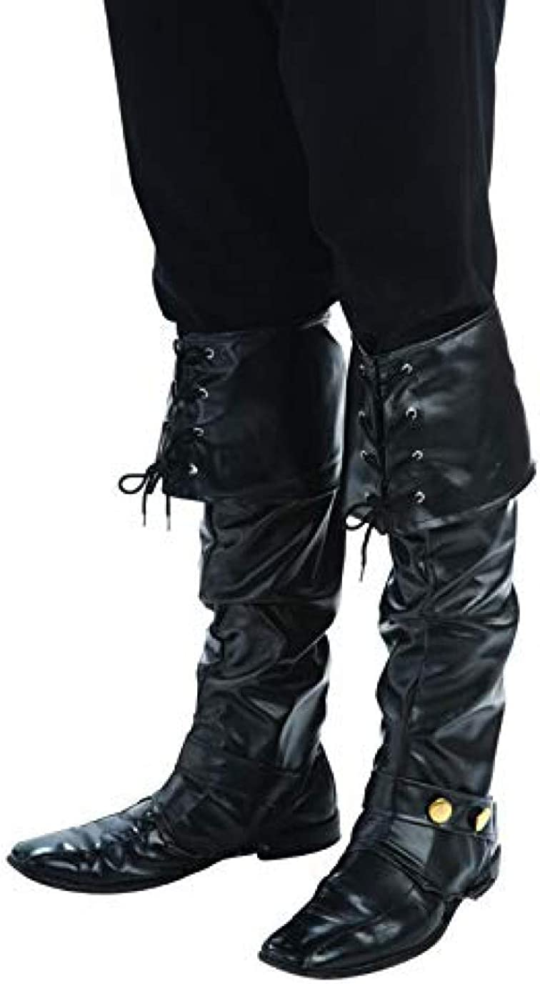 Child Pirate Black Buccaneer Boot Tops Shoe Covers Halloween Costume Accessory