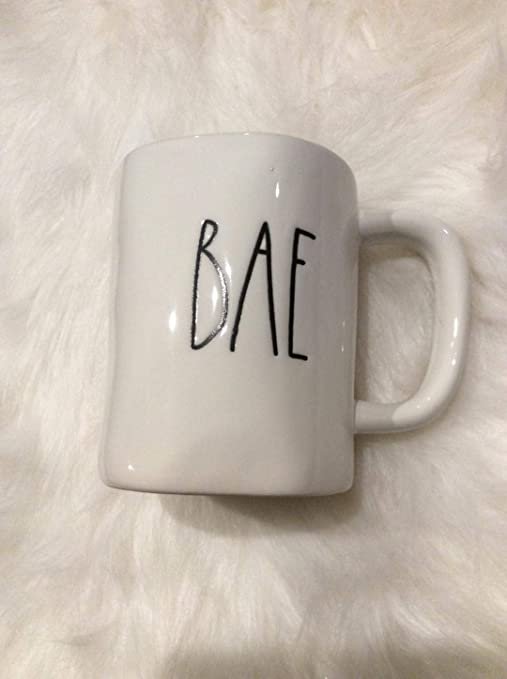 Amazon Com Rae Dunn Large Letter Bae Coffee Mug In White With Black Letters Kitchen Dining