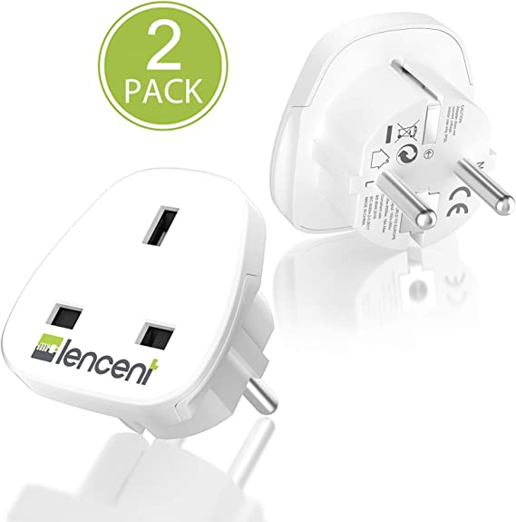 LENCENT 2X Adaptador de Enchufe de UK a Enchufe Europeo, Adaptador ...