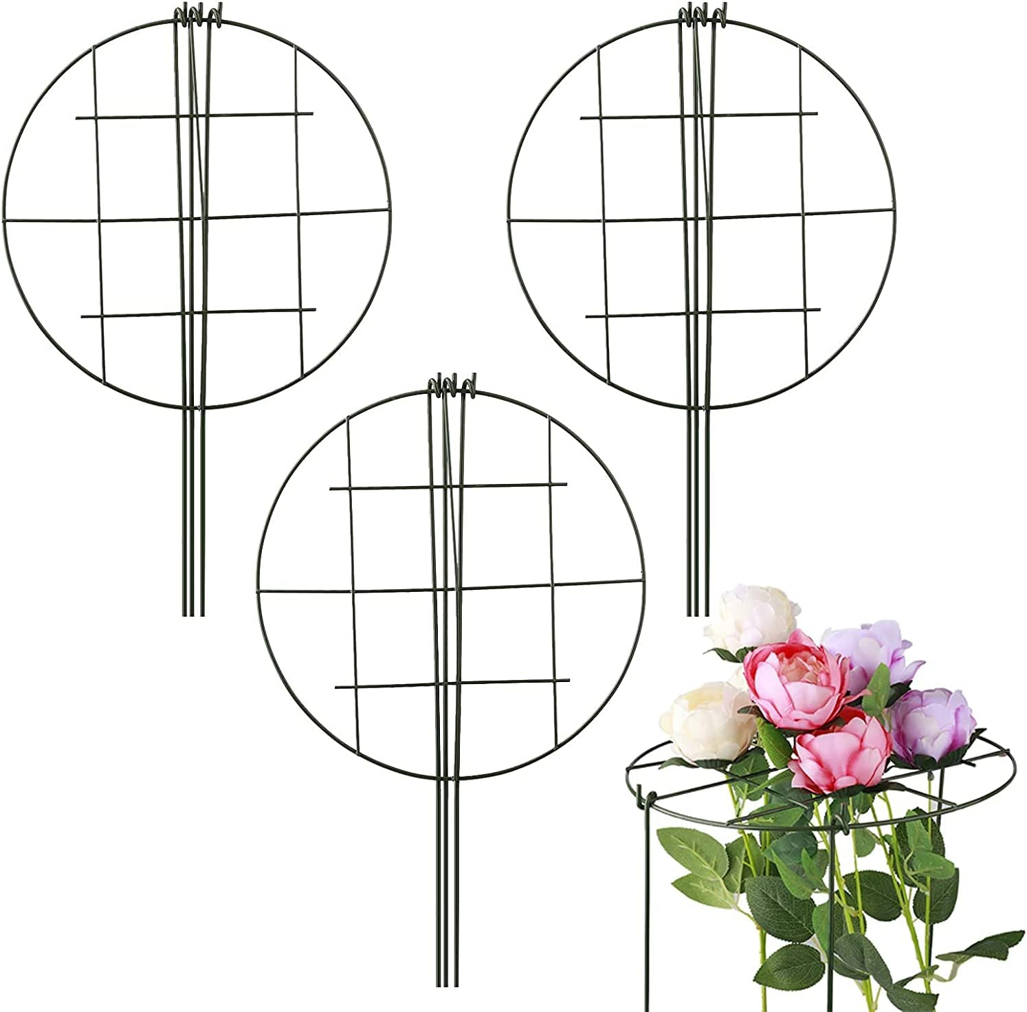 STOYRB 3Pack Grow Through Grid Grow Through Plant Support Grow Through Hoops Iron Round Plant Support Stakes with 3 Legs Plant Cages and Support for Flowers