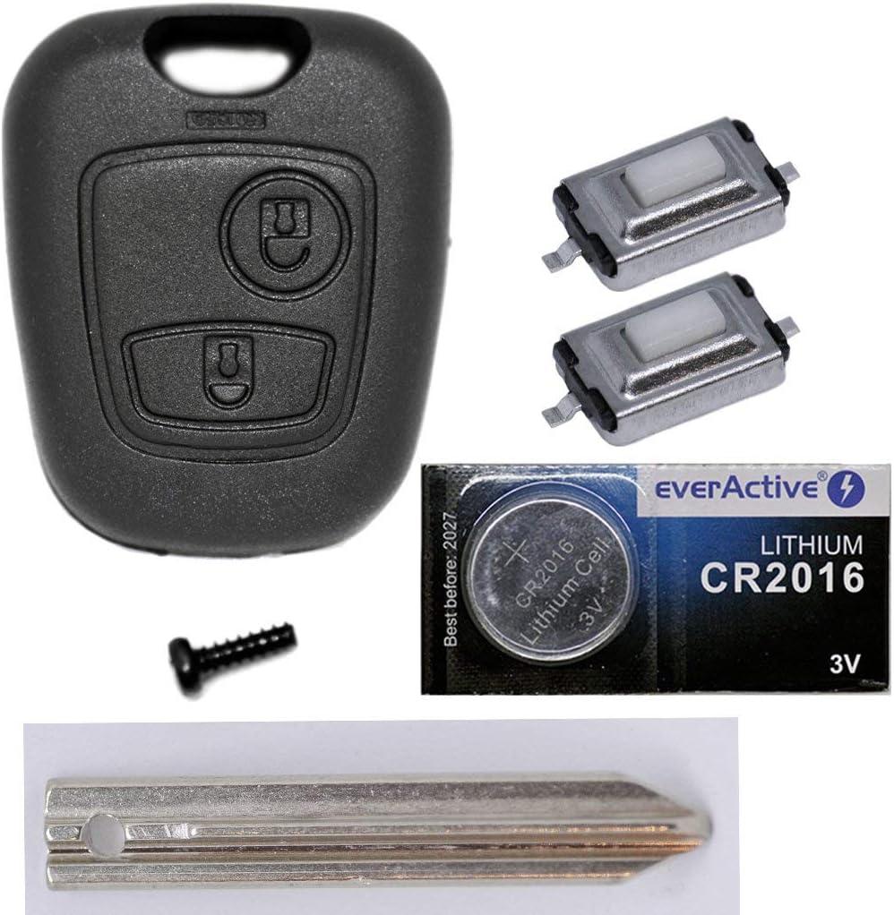 Auto Schlüssel Funk Fernbedienung 1x Gehäuse 1x Rohling Sx9 2x Mikrotaster 1x Cr2016 Batterie Für Citroen