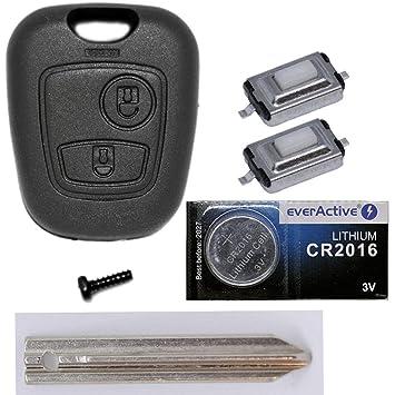 Auto Llave Mando a distancia 1 x Carcasa + 1 x en blanco sx9 + 2 x mikrotaster + 1 x CR2016 batería para Citroen/Peugeot/Toyota