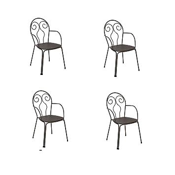 EMU Oferta 4 sillones Silla Caprera de Acero marrón India de ...