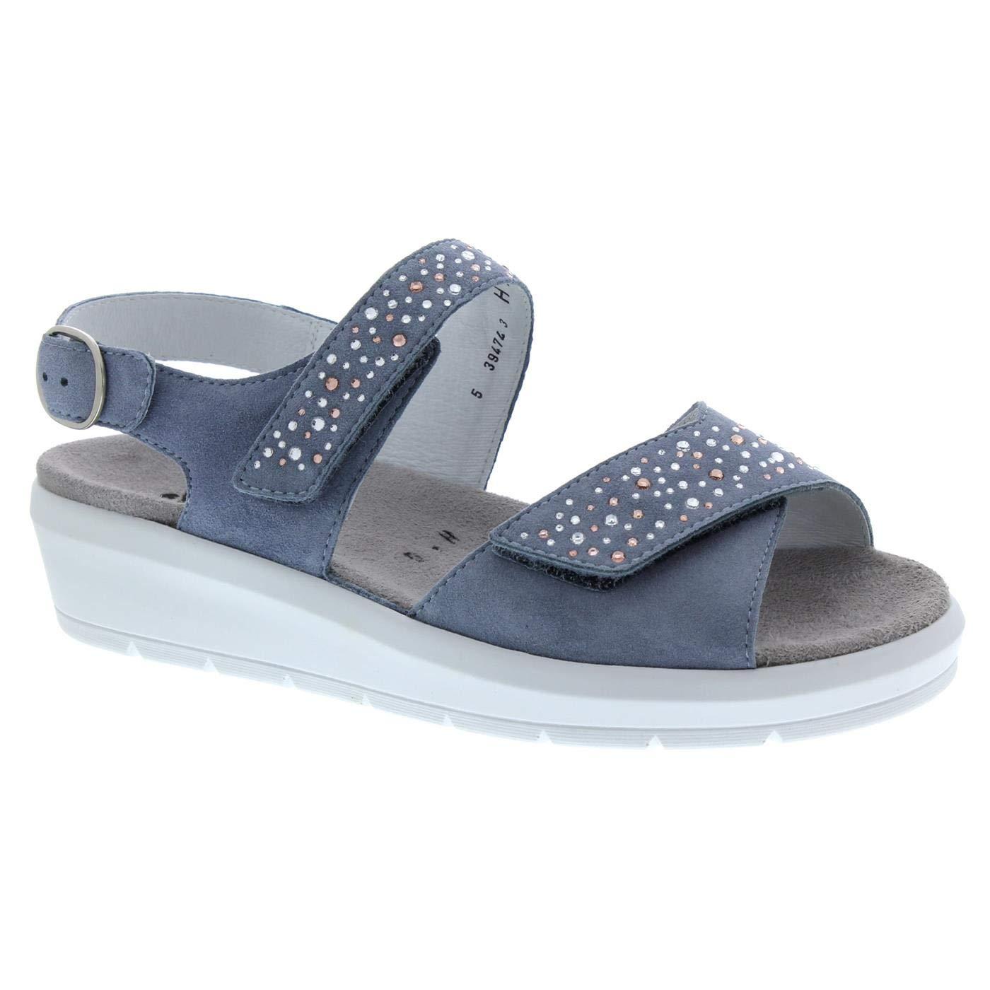Blau Semler Damen Sandaletten SAMT-Chevro K5025042 076 blau 680902