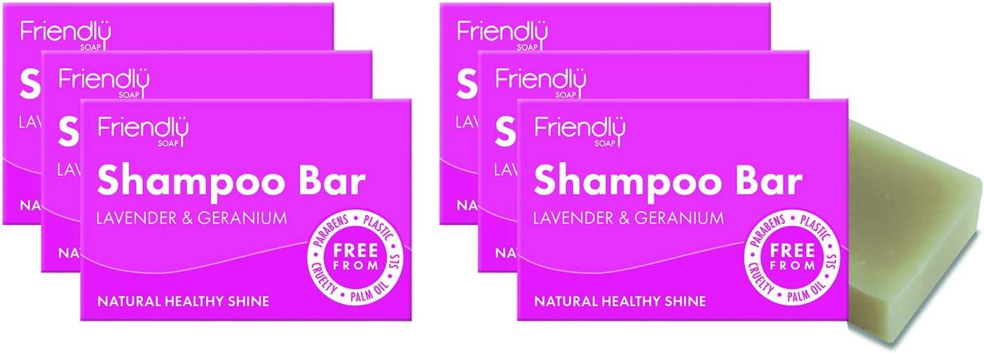 Friendly Soap Natural Shampoo Bar – Lavender & Geranium 95g (Pack of 6)