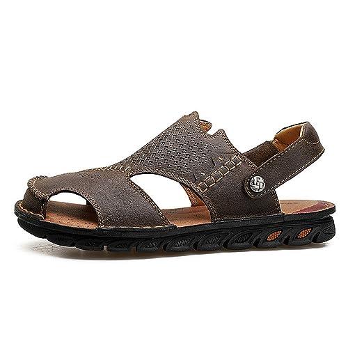 Sandalias de Pescador para Hombres Sandalias Respirables de Cuero Antideslizantes Zapatillas de Playa de Verano Ajustables: Amazon.es: Zapatos y ...