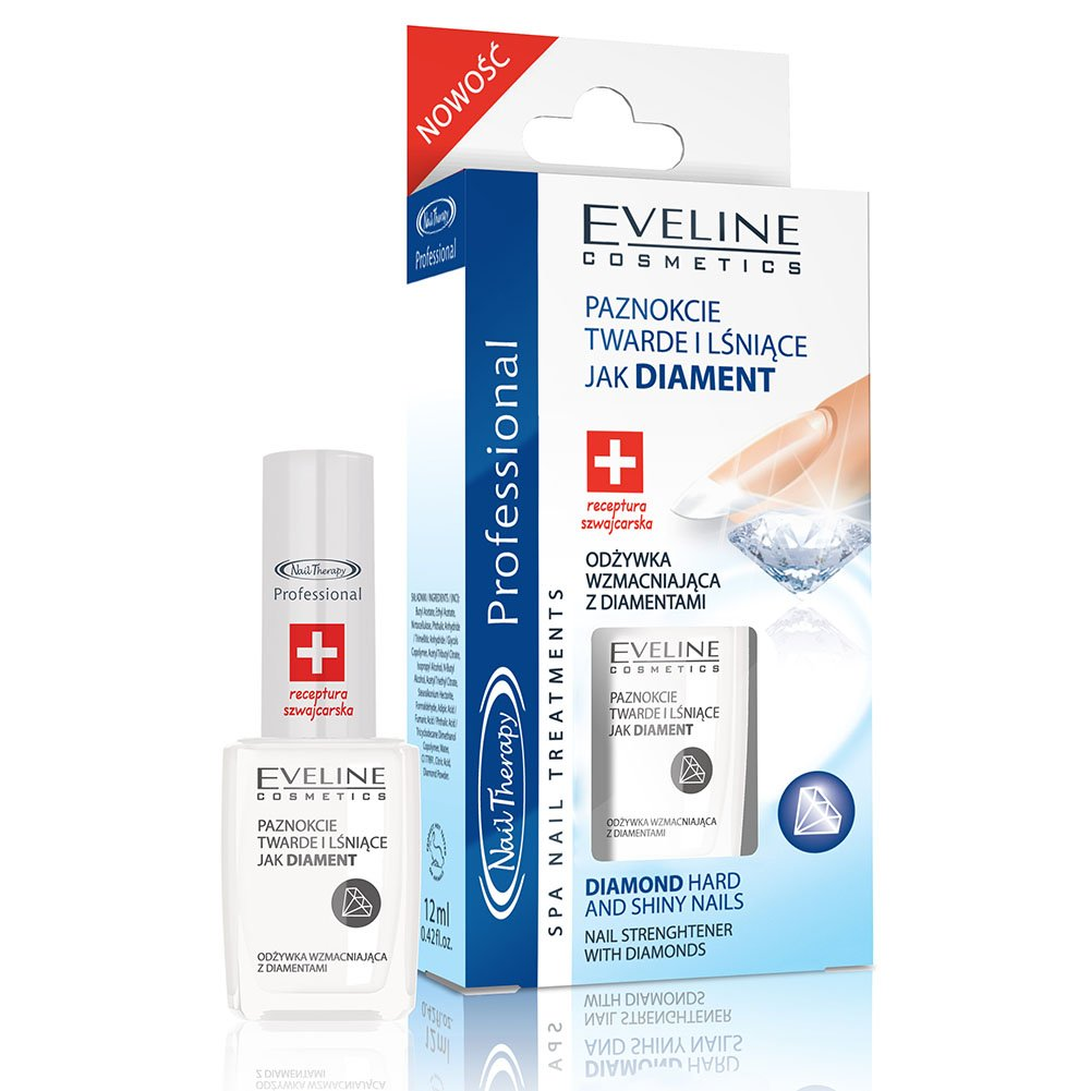 EVELINE Cosmetics Nail Therapy Nail Conditioner with Diamond 12ml Strengthener Deeply Moisturizes