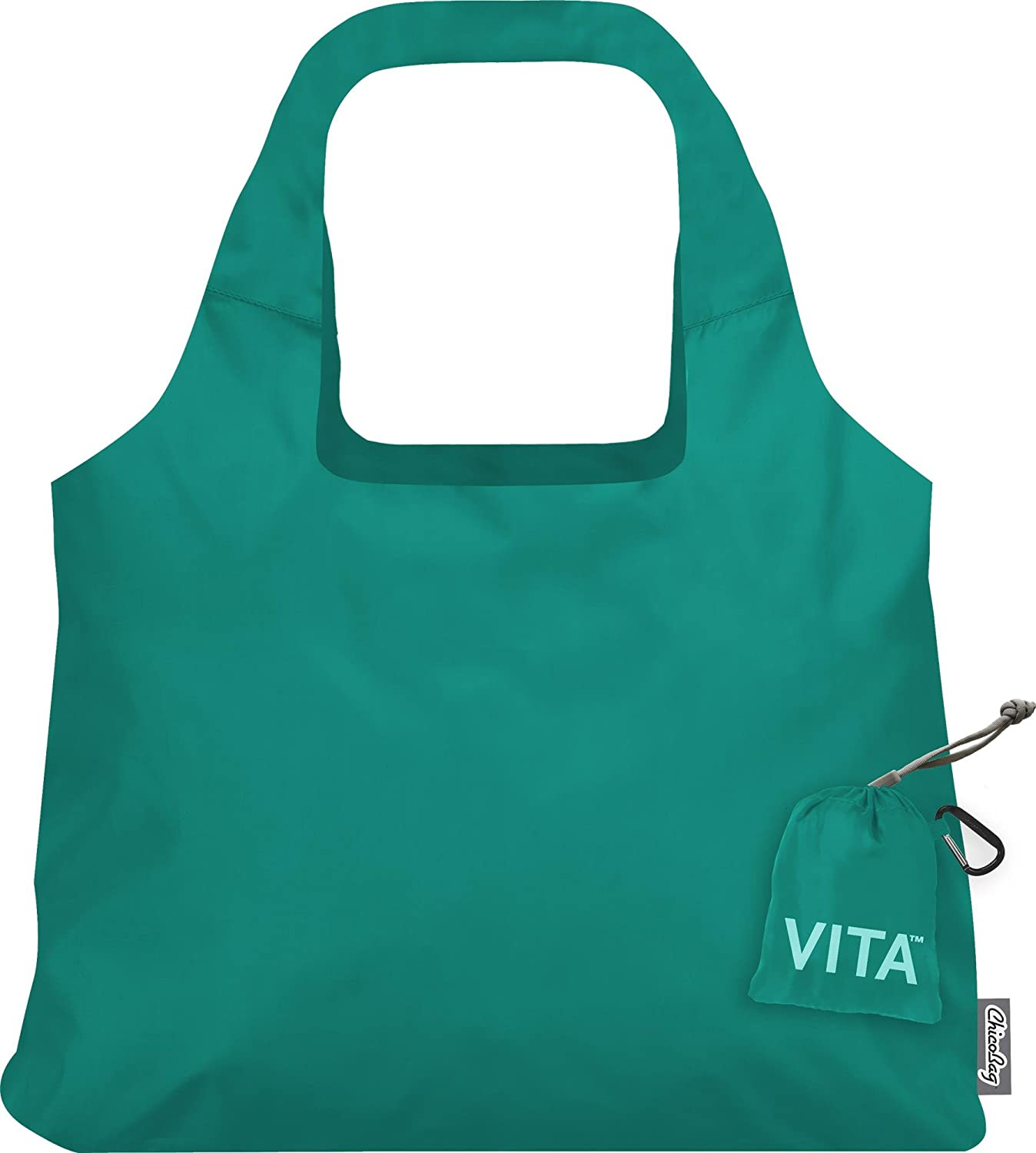 ChicoBag Vita Compactable Reusable Shopping Tote/Grocery Bag with Pouch, Aqua, 19 x 12.5-Inch Bag, 4 x 4-Inch Pouch VSAQ