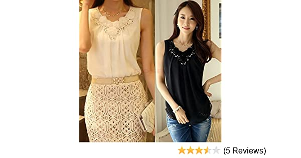 80b9d309ed1e2 Amazon.com  Women Blouse Summer Fashion Ladies Casual Sleeveless Shirt Plus  Size Clothing Tops SV004093  Kitchen   Dining