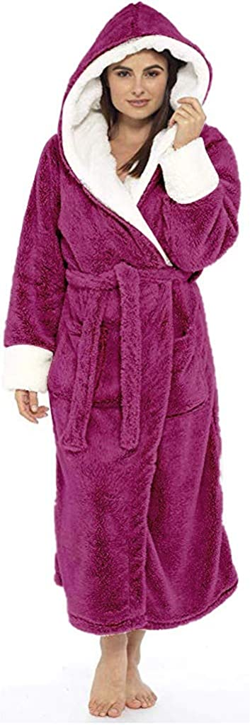 Womens Plus Size Plush Robes Long Sleeve Hooded Bathrobe Comfy Nightgown Capes Casual Cardigans Jackets Coats S-5XL
