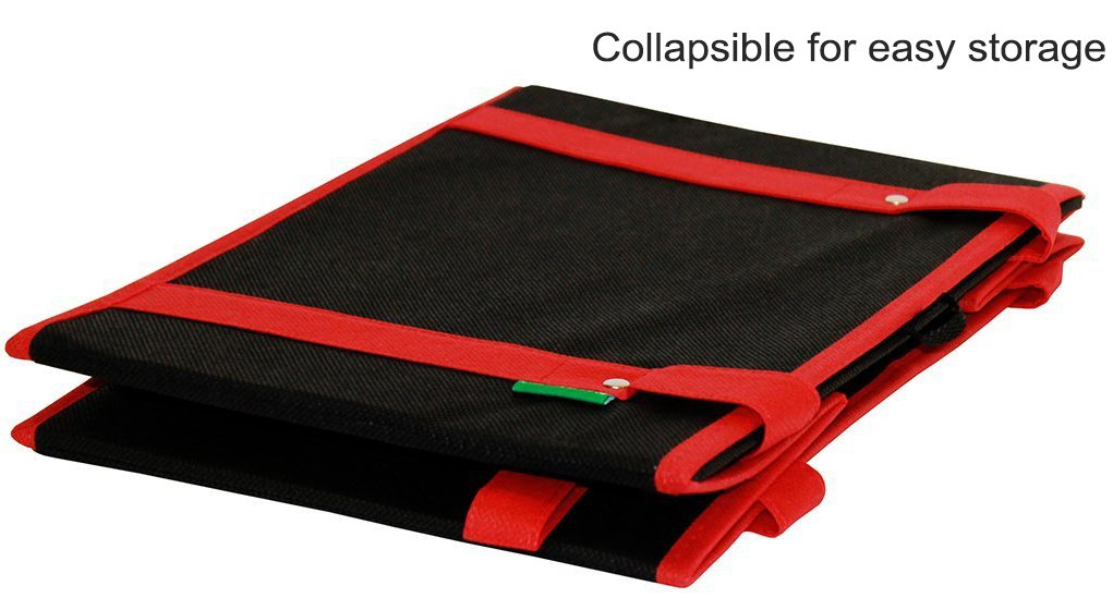 Earthwise Reusable Grocery Bags Box Deluxe Collapsible Shopping Bag EXTRA SIDE HANDLES FOR EASY