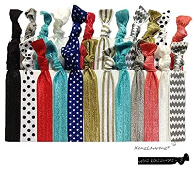 Premium No Crease Ribbon Hair Ties - No Damage Ouchless Creaseless Elastic Ponytail Holders - Hairbands Hair Styling Accessories - By Kenz Laurenz