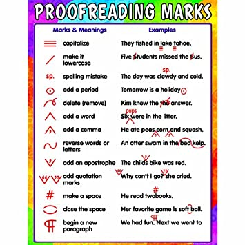 Amazon Teacher Created Resources Proofreading Marks Chart Set