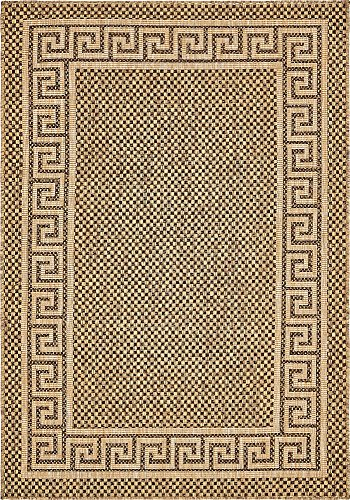 Unique Loom Outdoor Border Collection Casual Greek Key Transitional Indoor and Outdoor Flatweave Brown  Area Rug (4