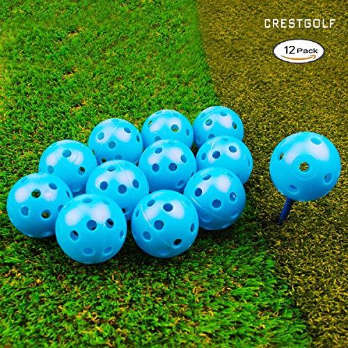 Crestgolf 40mm Plastic Airflow Golf Balls Pack of 12 (blue )