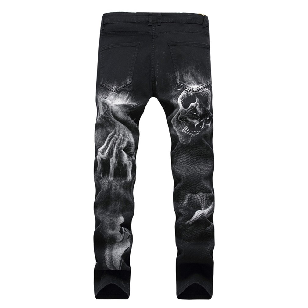 Mens Skull Printed Fashion Casual Cool Black Stretch Jeans