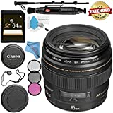 Canon EF 85mm f/1.8 USM Lens 2519A003 + 58mm 3 Piece Filter Kit + 64GB SDXC Card + Lens Pen Cleaner + Fibercloth + Lens Capkeeper + Deluxe 70 Monopod + Deluxe Cleaning Kit Bundle