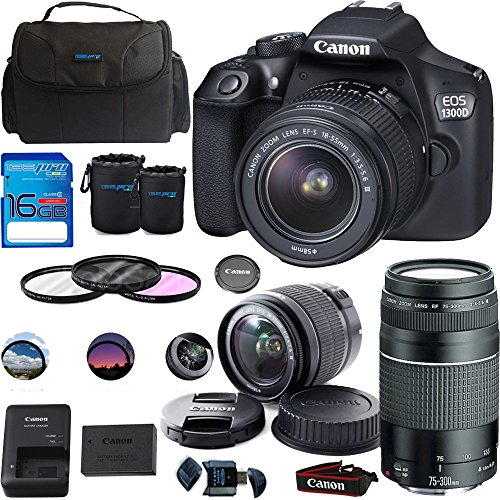Canon EOS 1300D/Canon EOS Rebel T6 DSLR Camera w/ EF-S 18-55mm f/3.5-5.6 IS II Lens + Canon EF 75-300mm f/4-5.6 III Lens - Deal-Expo Premium Accessories Bundle
