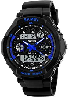 Fanmis Mens Sports Watches Multifunction Dual Time Alarm Stopwatch 50M Waterproof Analog Digital Led Wrist watch