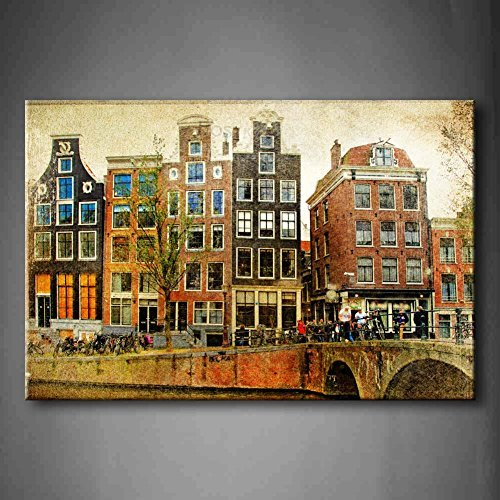 Crystal Emotion Amsterdam Retro Styled Picture Bridge River Tree Houses Vehicle Wall Art Painting Pictures Print On Canvas Architecture For Home Modern Decoration ()