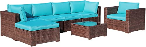 OC Orange-Casual 7-Piece Outdoor Furniture Sectional Sofa Set Chair PE Rattan Wicker Patio Conversation Set