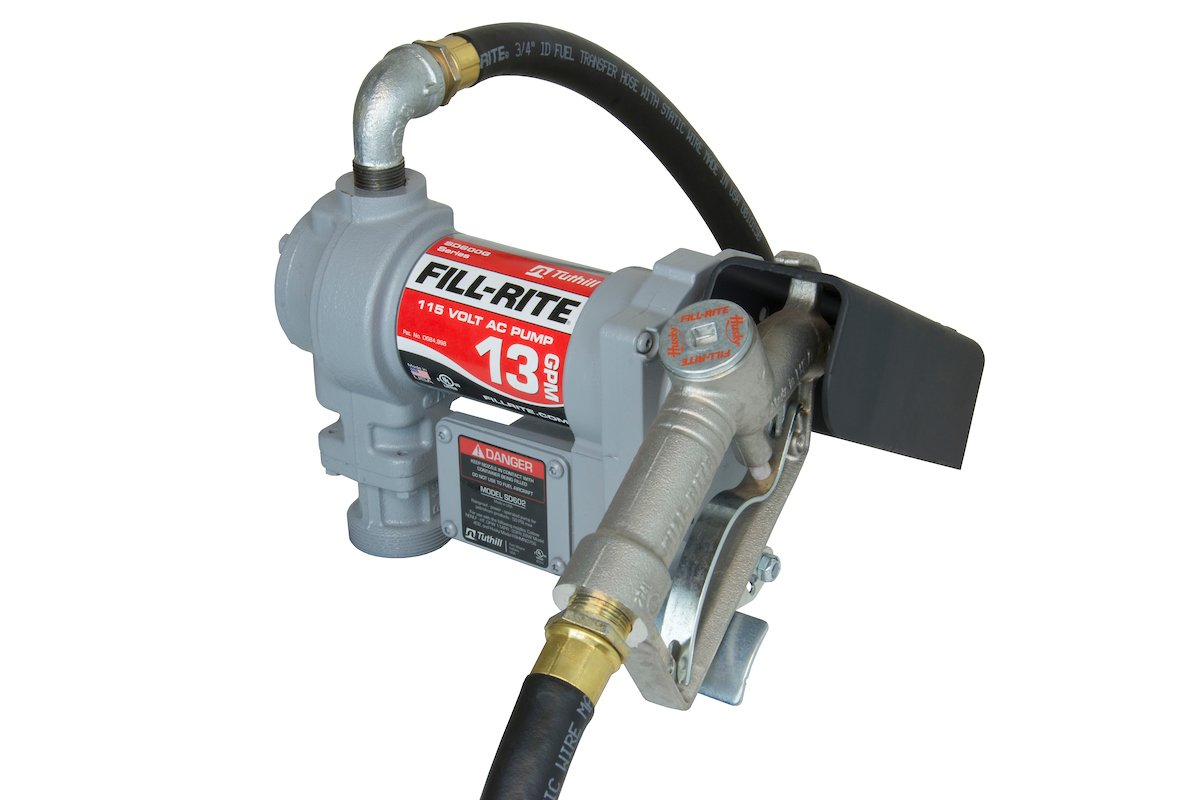 Fill-Rite Fuel SD602 Fluid Transfer Pump, Adjustable Suction Pipe, 10' Delivery Hose, Manual Release Nozzle - 115 Volt, 13 GPM