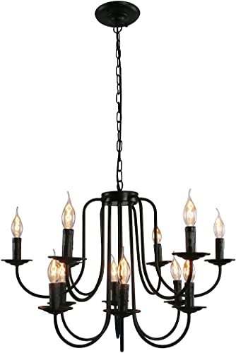 Unitary Brand Antique Black Metal Wrought Iron Dining Room Candle Chandelier