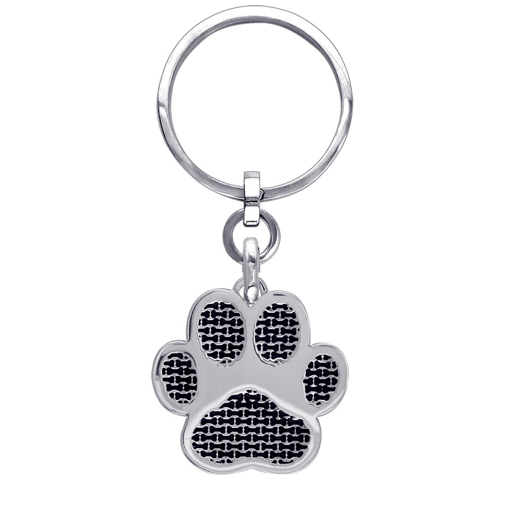 Jumbo Dog Paw Keychain with Black in 14k White Gold