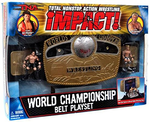 Total Non Stop Action TNA World Wrestling Championship Belt Playset - Includes AJ Styles and Jeff Jarrett 3