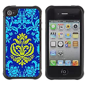 Suave TPU Caso Carcasa de Caucho Funda para Apple Iphone 4 / 4S / Patter Oriental Royal Blue Golden Yellow Crown / STRONG