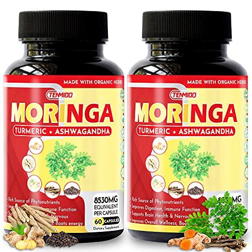 2 Packs Moringa Capsules 8530mg, 4 Months Supply & Turmeric, Ashwagandha, Ginger, Licorice, Black Pepper  Immune Support…