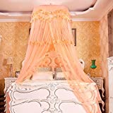 DE&QW Dome suspended ceiling nets mosquito net, Princess court anti-mosquitoes lightweight bed canopy-D King