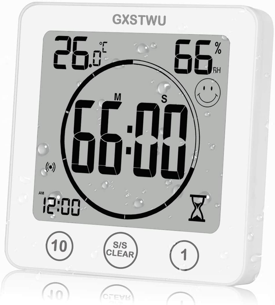 Duschuhren wasserdichte Uhren für Badezimmer Weiß Hygrometer ...