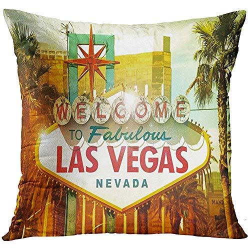 - Throw Pillow Cover Neon Fabulous Vegas Welcome to Las Nevada Strip Entrance Sign American Cities Collection City Casino Decorative Pillow Case Home Decor Square 18x18 Inches Pillowcase