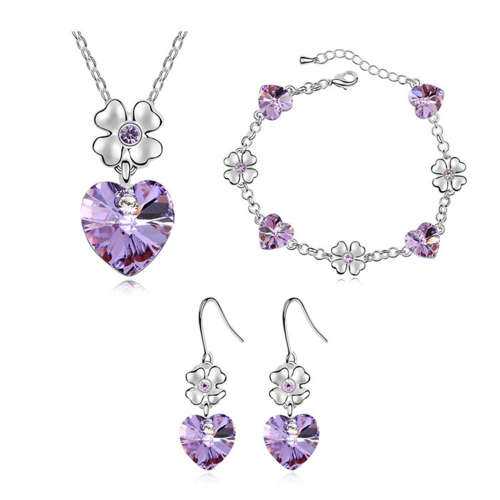 FEDNON Heart Pendant Necklaces Heart Drop Dangel Earrings Bracelet with Violet Australia Crystal Jewelry Sets for Girlfriend by FEDNON (Image #1)