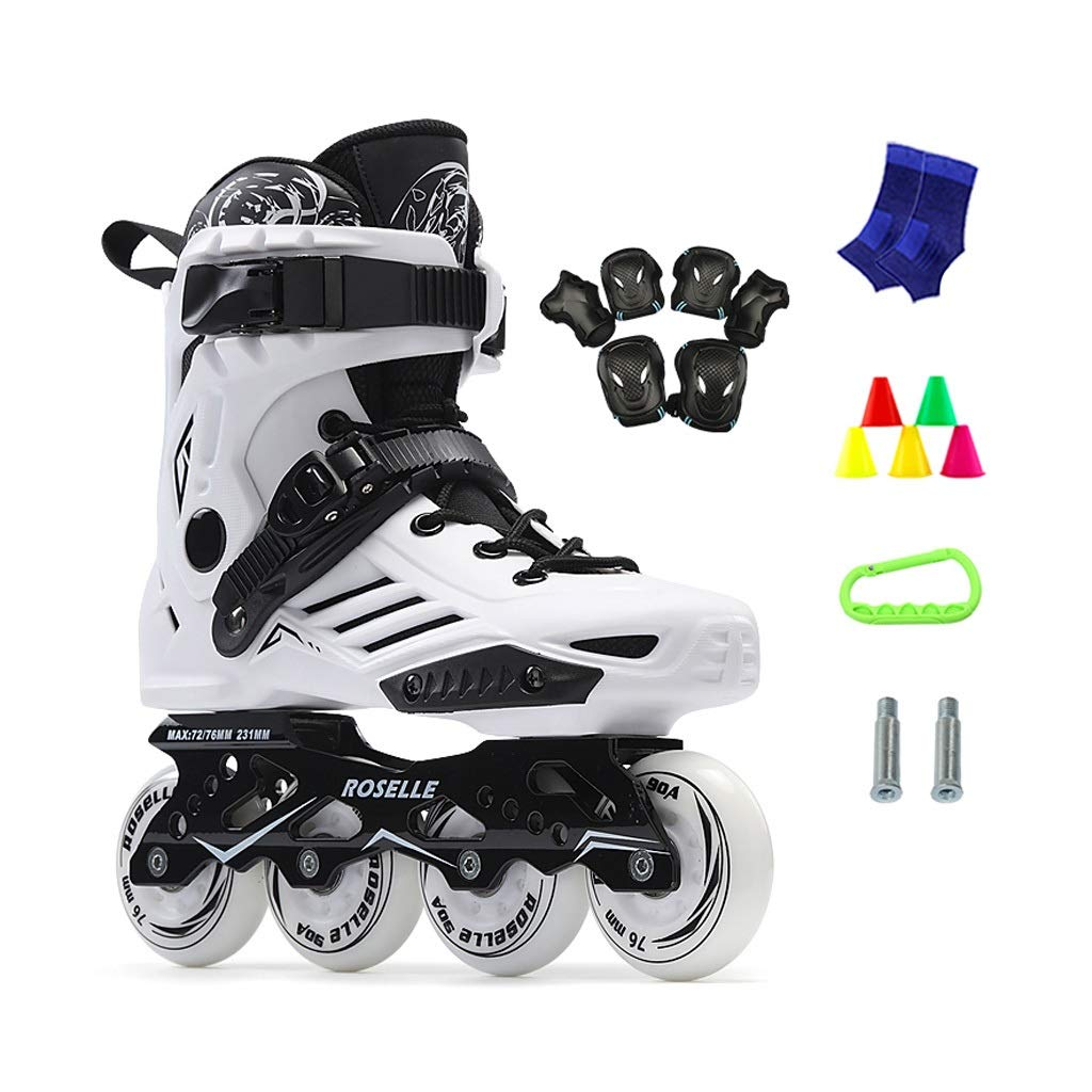 JIANXIN Inline Skates, Adult Light Up The Wheel Roller Skates Suitable for Women, Beginner, Youth Skating, White Black (Color : A, Size : EU 36)