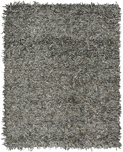 Safavieh Leather Shag Collection LSG601G Hand-Knotted Grey and Beige Decorative Area Rug (8' x 10')